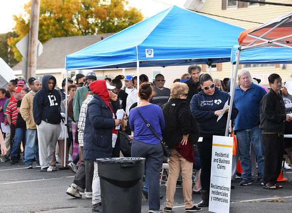 CARL RUSSO/Staff photo Columbia Gas provided a claims center in the parking lot of St. Patrick's Church on Monday.  The center was organized to help the South Lawrence residents and business owners impacted by Friday's gas leak. 9/30/2019