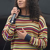 TIM JEAN/Staff photo<br /> <br /> Shantell Jiminian, 14, sings a song on The Wandering Stage, during a Community Spirit celebration at the Stadium Plaza on Winthrop Avenue in Lawrence.   9/14/19
