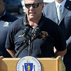 TIM JEAN/Staff photo<br /> <br /> Lawrence Fire Chief Brian Moriarty speaks during a press conference about the major gas leak in South Lawrence.  Behind him is Governor Charlie Baker. 9/27/19
