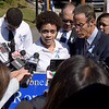 TIM JEAN/Staff photo<br /> <br /> Lucianny Rondon, center, the sister of Leonel Rondon, speaks with members of the media after the family unveiled the sign for him during a dedication ceremony for Rondon Square.  9/13/19