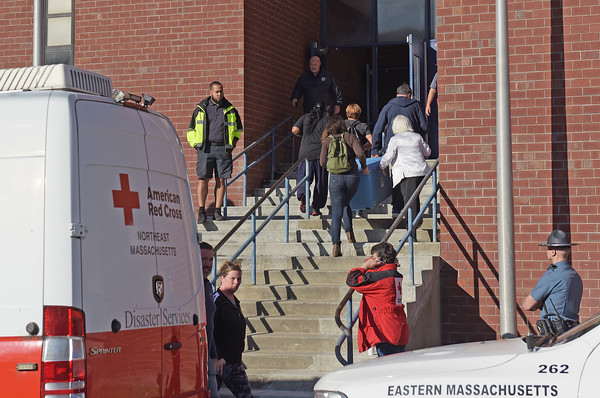 TIM JEAN/Staff photo<br /> <br /> The Red Cross opened a shelter at the Arlington School on Friday morning after a reported major gas leak caused a lockdown and evacuation of the South Lawrence.   9/27/19
