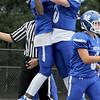 TIM JEAN/Staff photo<br /> <br /> Methuen's Kareem Coleman, left, celebrates with Connor Bryant after scoring a touchdown against Malden Catholic. Methuen won 47-14.  9/14/19
