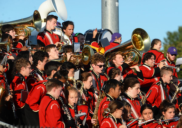 CARL RUSSO/Staff photo. ANDOVERS' MAGAZINE:  North Andover high Scarlet Knights marching band performs during the game. Marblehead defeated North Andover 25-20 in Friday football action. 9/13/2019