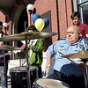 "TIM JEAN/Staff photo<br /> <br /> David Cantone, right, Andover Police Parking Enforcement Supervisor, plays the drums with the student band ""Live Wire"" during community gathering on the anniversary of the Sept. 13, 2018 gas disaster outside the Old Town Hall in Andover.  9/13/19"