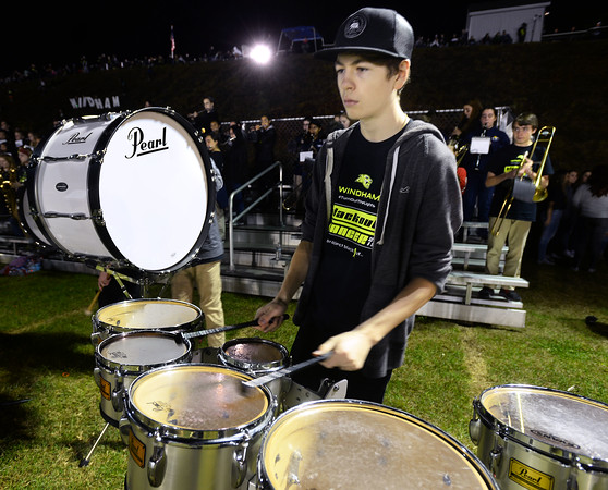 CARL RUSSO/Staff photo Windham high junior, Connor Hare plays the quad drums during the half time show of the 9th Annual Windham high Jaguar Blackout Cancer Football Game. The popular event was held Friday night on September 27.<br /> <br /> Windham-grown Project Blackout kicks off a series of events around the town to generate awareness of pediatric cancer and raise funds to support research efforts and care for the children and families currently battling pediatric cancer in Windham. Students performed at the football game halftime show dedicated to families who have been helped by the project. 9/27/2019