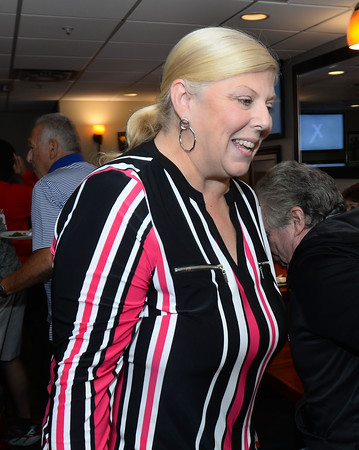 CARL RUSSO/Staff photo. Methuen mayoral candidate, Jennifer Kannan celebrates with her supporters at the Sand Bar Restaurant in the Merrimack Valley Golf Club. Kannan captured second place in the September primary election Tuesday night. 9/17/2019