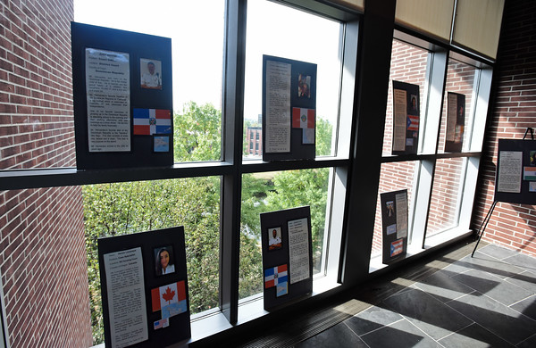 RYAN HUTTON/ Staff photo <br /> Biographies of Lawrence District Court staff line the windows and walls of the court's third floor showing off the countries of origin of various staff members as part of  Cultural Appreciation Week which celebrates the diversity of the court.