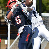 CARL RUSSO/Staff photo. St. John's Pat Nistl knocks the ball away from Central's John Mercuri in the end zone. St John's Prep defeated Central Catholic 28-14 in Saturday afternoon football action.  9/21/2019