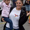 TIM JEAN/Staff photo<br /> <br /> Naya Galvez, 2, dancers with her cousin Itamar Lappost, of Lawrence, during a Community Spirit celebration at the Stadium Plaza on Winthrop Avenue in Lawrence.   9/14/19
