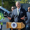 TIM JEAN/Staff photo<br /> <br /> Governor Charlie Baker answers questions during a press conference about the major gas leak in South Lawrence. Behind the governor is from left, Columbia Gas of Massachusetts President Mark Kempic, Lawrence Fire Chief Brian Moriarty, and Lawrence Mayor Daniel Rivera.     9/27/19