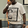 """TIM JEAN/Staff photo<br /> <br /> Survivor speaker Samuel """"Polo"""" Pierre, cousin of Michelet Cadet Jr., during the annual Day of Remembrance for Murdered Victims vigil held at the Lawrence Senior Center.    9/28/19"""
