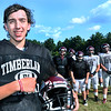 CARL RUSSO/Staff photo New Timberlane high school senior football captain, Jared Morrison is dedicating the season to his late father, who died in an accident 2018. Jared wears a wrist band in memory of his father. 9/11/2019