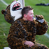 CARL RUSSO/Staff photo Windham high sophomore and mascot Nate Campbell takes a break during the 9th Annual Windham high Jaguar Blackout Cancer Football Game, held on Friday night, September 27. <br />  <br /> Windham-grown Project Blackout kicks off a series of events around the town to generate awareness of pediatric cancer and raise funds to support research efforts and care for the children and families currently battling pediatric cancer in Windham. Students performed at the football game halftime show dedicated to families who have been helped by the project 9/27/2019