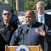 TIM JEAN/Staff photo<br /> <br /> Lawrence Mayor Daniel Rivera speaks during a press conference about the major gas leak in South Lawrence.  Behind the mayor is Lawrence Fire Chief Brian Moriarty, left, and Governor Charlie Baker. 9/27/19