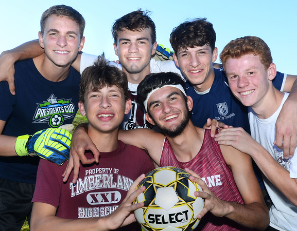 """CARL RUSSO/Staff photo Timberlane senior soccer players, front row:  Joe Casey and Cameron Ross. Back row: Dimitri Kakouris, Matt Barney, Ryan Boggiatto and Shawn Perry.    <br /> <br /> This will be the end of an era for Timberlane boys soccer. Seniors Cameron Ross, Dimitri Kakouris, Matt Barney, Shawn Perry, Ryan Boggiatto and Joe Casey are all the youngest siblings of many who have come through both the boys and girls programs at Timberlane. But for their """"last ride"""" together, the Owls have started the season an undefeated 5-0-2.  9/27/2019"""