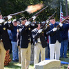 RYAN HUTTON/ Staff photo <br /> Members of the Andover American Legion fire a 21-gun salute at the funeral of Methuen native and Korean War veteran Eileen Robichaud at Elmwood Cemetery on Friday.