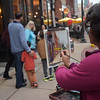 TIM JEAN/Staff photo<br /> <br /> Artist Maria Nemchuk, of North Andover, paints a street scene along Washington Street during the first annual Art Walk throughout downtown Haverhill.   9/14/19