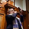 RYAN HUTTON/ Staff photo <br /> Temple Emanu-El President Loren Goldstein blows the shofar following Rosh Hashanah services on Monday.