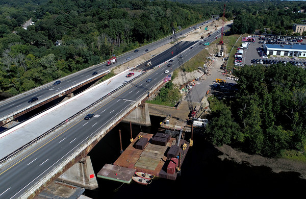 COURTESY PHOTO<br /> The northbound lane, right, of the I-495 bridge over the Merrimack River in Haverhill has had a new lane added so traffic can be diverted while repairs are done to the road deck of the span.