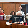 RYAN HUTTON/ Staff photo <br /> From left, Jose Rosado, 19, Nadia Millis, 19, and Brian Grande, 19, face arraignment in Haverhill District Court on Monday morning after a shooting on Jackson Street in Haverhill on Sunday in which no one was injured but two homes were struck by bullets.