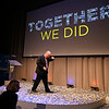 MIKE SPRINGER/Staff photo<br /> Merrimack College President Christopher E. Hopey brushes confetti out of his hair at the conclusion of an event Thursday evening celebrating the college's fund-raising success. <br /> 9/12/2019
