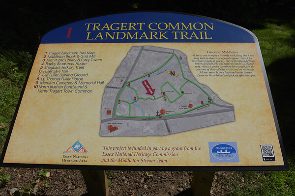 TIM JEAN/Staff photo<br /> <br /> An information sign at the start of the Target Common Landmark Trail. The trail is organized around historic and natural features around the towns common.  7/21/20