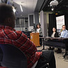 TIM JEAN/Staff photo <br /> <br /> Salem High School students listens to Greater Salem Chamber of Commerce President Donna Morris, left, as she leads a speaker panel seated from left to right, Carmela Souza, Bill Stevens, and Stephen Boucher, during a Business Education Collaborative Business Pathways program at Salem High School.   2/5/20