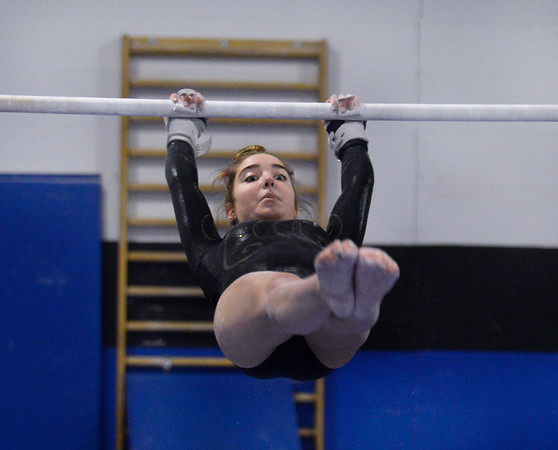 CARL RUSSO/Staff photo  Haverhill's Lilly Mullaney competes on the bars. The Merrimack Valley Conference Gymnastic League Meet was held Thursday night on February 6 at A2 Gym and Cheer in Salem NH.    <br /> <br /> Team Score: Chelmsford/Billerica/Tyngsboro 141.45, 2. Central Catholic 139.70, 3. North Andover 138.35, 4. Methuen 137.7, 5. Haverhill 136.85, 6. Andover 132.15, 7. Lowell 130.65, 8. Dracut 130.40, 9. Tewksbury 128.95 2/6/2020