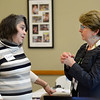 CARL RUSSO/Staff photo. Susan Hazarvartian of North Andover, left talks to Deborah Hope of Hope Associates. <br /> She is the coach/group leader of the Network Group. The Essex County Regional 50+ Job Seekers Networking Group held their first session on January 14 at the North Andover Senior Center. 1/14/2020
