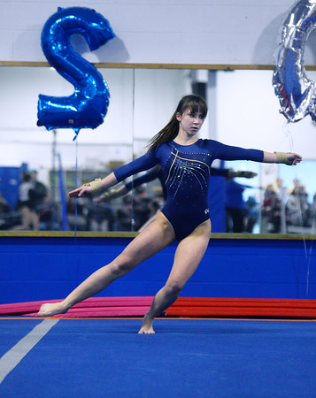 CARL RUSSO/Staff photo The Merrimack Valley Conference Gymnastic League Meet was held Thursday night, February 6th. at A2 Gym and Cheer in Salem NH.  Andover high sophomore, Ksenia Kessler performs her floor routine during the meet.<br /> <br /> Team Score: Chelmsford/Billerica/Tyngsboro 141.45, 2. Central Catholic 139.70, 3. North Andover 138.35, 4. Methuen 137.7, 5. Haverhill 136.85, 6. Andover 132.15, 7. Lowell 130.65, 8. Dracut 130.40, 9. Tewksbury 128.95<br /> 2/6/2020