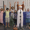 "MIKE SPRINGER/Staff photo<br /> The snowman ""Olaf,"" played by fifth-grader Aidan Vadala-Mitchell, second from right, performs with the ""Summer Chorus"" during a scene in the children's version of the Disney musical ""Frozen"" on Thursday at Soule Elementary School in Salem. From left are Kaylee McSheehy, Kevin Ramos, Thalia Emilien, Alayna McNamara, Aidan, and Christopher Rozumek.<br /> 2/20/2020"