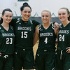 CARL RUSSO/Staff Photo. Brooks School defeated St. Mark's  81-25 in girls basketball action during senior night. The seniors seen here are:  Jennifer Connolly of Melrose MA, Sydney Robinson of Conn., Molly Madigan of North Andover and Brooke Cordes of North Andover who just recently scored her 1,000th point. 2/26/2020.