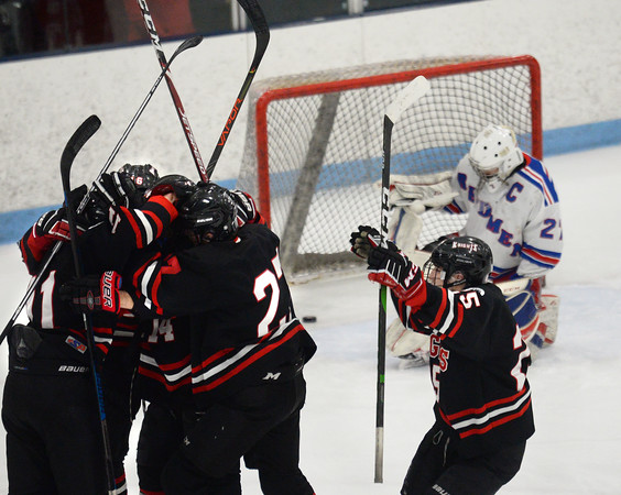 CARL RUSSO/Staff photo North Andover celebrates scoring the first goal of the game in the first period by Jack Roe. North Andover defeated Tewksbury 3-2 in Div. 2 hockey quarterfinals at the Chelmsford Forum Friday night. 2/28/2020