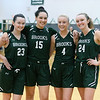CARL RUSSO PHOTOS: Because the Coronavirus as put the spring high school sports season on hold, lets look back at a recent basketball game. On February 26, Brooks School defeated St. Mark's 81-25 in girls basketball action during senior night.  <br /> <br /> The seniors, from left, Jennifer Connolly of Melrose, Sydney Robinson of Wallingford, CT and Molly Madigan and Brooke Cordes both of North Andover. Before the end of this game it was noted that Cordes had recently scored her 1,000th point. Click on this site to see more photos.