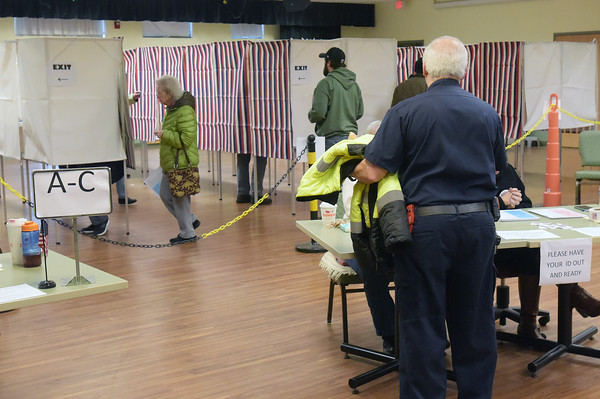 TIM JEAN/Staff photo <br /> <br /> Residents cast their ballots at the Ingram Senior Center during the New Hampshire primary in Salem.     2/11/20
