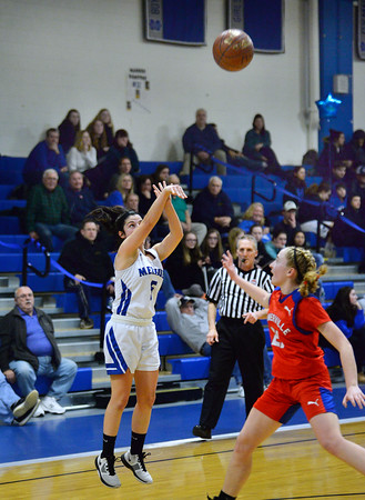 CARL RUSSO/Staff photo Methuen's Stephanie    Tardugno takes the three point jump shot. Methuen defeated Somerville 61-47 in girls' basketball action Tuesday night. 2/18/2020