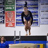 CARL RUSSO/Staff photo Methuen junior, Molly Beeley   somersaults off the vault during the competition.<br /> <br /> The Merrimack Valley Conference Gymnastic League Meet was held Thursday night on February 6, at A2 Gym and Cheer in Salem NH. 2/6/2020