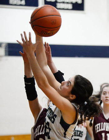 CARL RUSSO/Staff photo PMA's  Elaina Latino battles for the rebound. Presentation of Mary Academy defeated Fellowship Christian Academy 51-43 in girls' basketball action Tuesday afternoon. 2/04/2020