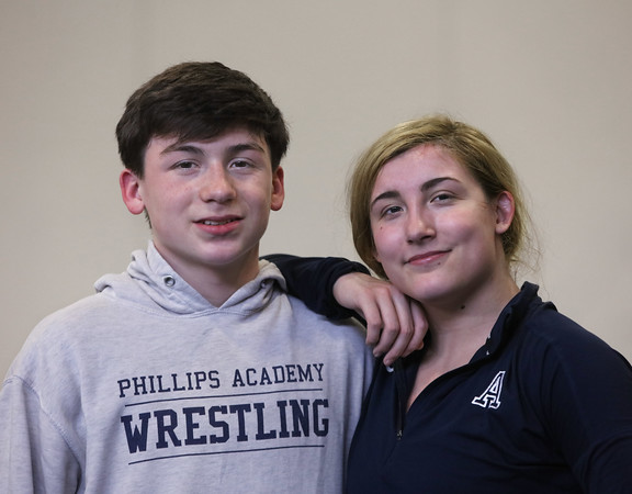 MIKE SPRINGER/Staff photo<br /> Siblings Colin and Marisol Nugent are both on the Phillips Andover Academy varsity wrestling team.<br /> 2/4/2020