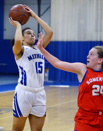 CARL RUSSO/Staff photo Methuen's Mirelys Morales drives to the basket for the lay up. Methuen defeated Somerville 61-47 in girls' basketball action Tuesday night. 2/18/2020