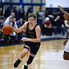 CARL RUSSO/Staff Photo. Andover's Ryan MacLellan races up court with the ball. Lawrence defeated Andover 60-54 in boys Basketball action in the D1 North tournament. 2/25/2020.