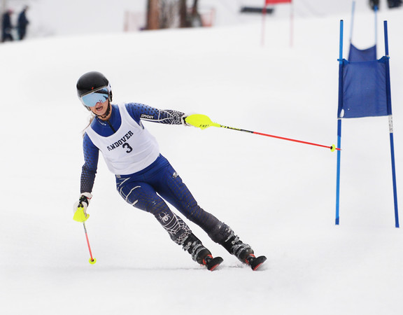 CARL RUSSO/staff photo. Andover's Hannah Peck. Ski teams from Andover, Haverhill and North Andover competed in North Shore Ski League meet on Monday at Bradford Ski. 2/10/2020.