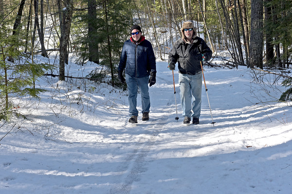 TIM JEAN/Staff photo <br /> <br /> Dana Debenedictis, left, of Methuen and Bob West, of Londonderry walk along the Landing Trail during the Annual Musquash Field Day in Londonderry, NH.  2/15/20