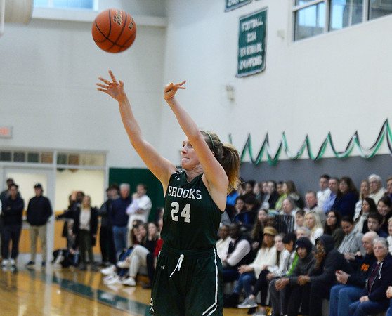 CARL RUSSO/Staff Photo. On February 26, Brooks School defeated St. Mark's 81-25 in girls basketball action during senior night. Senior Brooke Cordes of North Andover takes the three point jump shot. 2/26/2020.