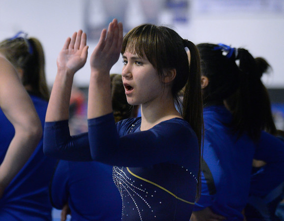 CARL RUSSO/Staff photo The Merrimack Valley Conference Gymnastic League Meet was held Thursday night, February 6th. at A2 Gym and Cheer in Salem NH.  Andover high sophomore, Ksenia Kessler cheers for her teammates during the meet.<br /> <br /> Team Score: Chelmsford/Billerica/Tyngsboro 141.45, 2. Central Catholic 139.70, 3. North Andover 138.35, 4. Methuen 137.7, 5. Haverhill 136.85, 6. Andover 132.15, 7. Lowell 130.65, 8. Dracut 130.40, 9. Tewksbury 128.95<br /> 2/6/2020