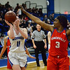 CARL RUSSO/Staff photo Methuen's Megan Melia drives to the basket.  Methuen defeated Somerville 61-47 in girls' basketball action Tuesday night. 2/18/2020