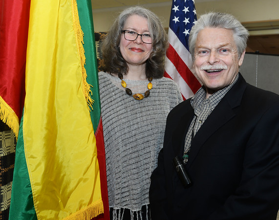 CARL RUSSO/Staff photo Jonas Stundzia of Lawrence, who has been president of the Lawrence Chapter of the American Lithuanian Council for 20 years greets operatic singer, Danute Mileika of Boston. She performed a concert after dinner at the Lithuanian celebration.  <br /> <br /> The Lithuanian American Council and The Knights of Lithuania, Council 78 celebrated its annual Independence celebration on Sunday, February 16. The celebration began with a mass at Corpus Christi Parish at Holy Rosary Church in Lawrence followed by a Lithuanian sausage dinner and entertainment at the parish center.2/16/2020