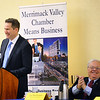 "CARL RUSSO/Staff photo Congressman Seth Moulton speaks at the breakfast. Merrimack Valley Chamber of Commerce president and CEO, Joseph Bevilacqua is next to him. <br /> <br /> Local Congressman Seth Moulton and Congresswoman Lori Trahan were guest speakers at the Merrimack Valley Chamber of Commerce breakfast on Monday. The theme was ""A special report from Washington, the challenges and opportunities facing the US in 2020.''  2/10/2020."