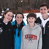 CARL RUSSO/staff photo. The Muse ski family of North Andover high. From left, Nina Muse, sophomore, Mia, a junior, Colby, a freshman and Jack, a senior. Ski teams from Andover, Haverhill and North Andover competed in North Shore Ski League meet on Monday at Bradford Ski. 2/10/2020.
