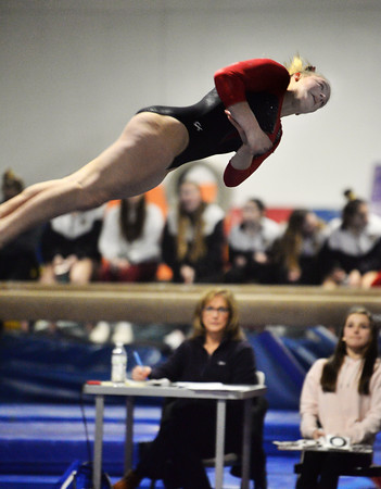 CARL RUSSO/Staff photo  North Andover sophomore, Kasey Burke performs on the floor. For the second straight season, Burke, ruled the Merrimack Valley Conference Gymnastics Championship. <br /> <br /> She won three individual events on the way to repeating as the all-around champion with a score of 37.95 at the Merrimack Valley Conference Gymnastic League Meet, held Thursday night on February 6, at A2 Gym and Cheer in Salem NH. 2/6/2020